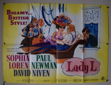 Lady L (1965) Sophia Loren Paul Newman Film Poster - UK Quad